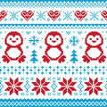Christmas knitted pattern -scandynavian sweater Royalty Free Stock Image