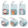 Christmas label illustration of set on white Royalty Free Stock Photography