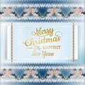 Christmas label with knitted pattern eps and vector file included Stock Photos