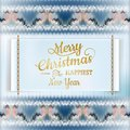 Christmas label with knitted pattern eps and vector file included Royalty Free Stock Photography