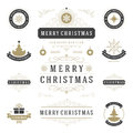 Christmas Labels and Badges Vector Design Elements Set. Royalty Free Stock Photo