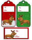 Christmas labels Dachshund dog Stock Image