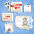 Christmas labels set with hand-drawn pictures Royalty Free Stock Photography