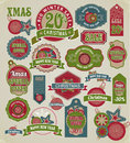 Christmas labels tags decorative items a diverse set of for the holidays and new year banner with the words and wishes discount Royalty Free Stock Images