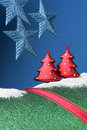 Christmas landscape decorations in fun abstract composition Royalty Free Stock Photos