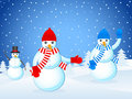Christmas landscape and snowmans Royalty Free Stock Photos