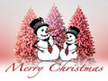 Christmas landscape with  snowmen Royalty Free Stock Photo