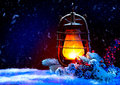 Christmas lantern magic stars winter holiday scene Stock Photo