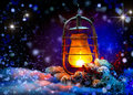 Christmas lantern magic stars winter holiday scene Stock Photos