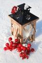 Christmas Lantern On Snowy Bac...