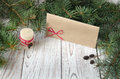 Christmas. Letter and candle Royalty Free Stock Photo