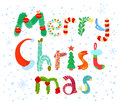 Christmas lettering cute merry card Stock Image