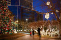 Christmas lights blurred people walking through the in downtown richmond virginia usa Stock Photography