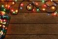 Christmas Lights Border On Woo...