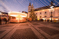 Christmas lights in the city and market of sibiu romania Stock Photos
