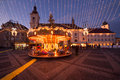 Christmas lights in the city and market of sibiu romania Royalty Free Stock Photos