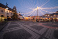 Christmas lights in the city and market of sibiu romania Royalty Free Stock Photography