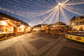 Christmas lights in the city and market of sibiu romania Royalty Free Stock Images