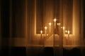 Christmas lights decoration on windowsill indoor Stock Images