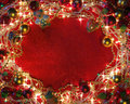Christmas lights frame with decorative sparkling and red and yellow balls Stock Photos