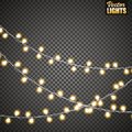 Christmas lights isolated on transparent background. Set of golden xmas glowing garland. Vector illustration Royalty Free Stock Photo