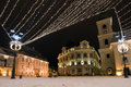 Christmas lights in main square of old town sibiu brukenthal museum Royalty Free Stock Photography