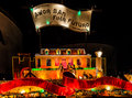 Christmas lights and models in the form of a landhuis curacao caribbean Stock Photo