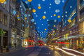 Christmas lights on Oxford Street, London Royalty Free Stock Photo
