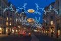 Christmas lights on Regent Street, London, UK