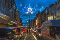 Christmas lights on the strand london uk th december which forms part of northbank business improvement district in is decorated Stock Image