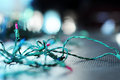 Christmas lights string of unlit Royalty Free Stock Image