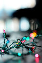 Christmas lights on a table Royalty Free Stock Photos