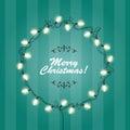Christmas Lights wreath frame - round festive lights