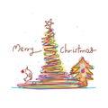 Christmas line bird xmas template