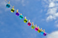 Christmas on line christmas baubles small hanging a clothesline Stock Photos