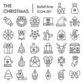 Christmas line icon set, celebration symbols collection, vector sketches, logo illustrations, winter signs linear