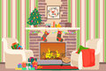 Christmas livingroom flat interior vector illustration. Christmas New Year tree and fireplace with socks. Christmas wall Royalty Free Stock Photo