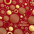 Christmas luxury holiday greeting card with gold handwritten inscription Merry Christmas and gold colored christmas balls.