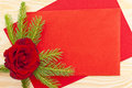 Christmas mail red envelope red rose Royalty Free Stock Photography
