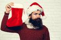 Christmas man with decorative stocking Royalty Free Stock Photo