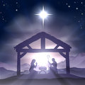 Christmas manger nativity scene christian with baby jesus in the in silhouette and star of bethlehem Royalty Free Stock Photography