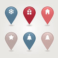 Christmas mapping pins icon web buttons colored satin round shapes Stock Photos