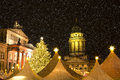Christmas market in berlin with snowflakes in december Royalty Free Stock Photo