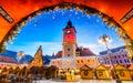 Christmas market brasov transylvania romania in main square with xmas tree and lights landmark Royalty Free Stock Photos