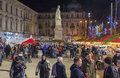Christmas market in bucharest romania december during night with lots of people eating and buying gifts for the loved Royalty Free Stock Photo