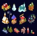 Christmas market and city isometric set isolated on navy blue ba