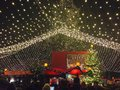 Christmas market in cologne chrsitmas before cathedral with a big lighting netz above Stock Images