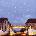 Christmas market on gendarmenmarkt in berlin with snowflakes Royalty Free Stock Photos