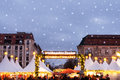 Christmas market on gendarmenmarkt in berlin with snowflakes Royalty Free Stock Image