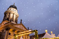 Christmas market on gendarmenmarkt with snowflakes Stock Photography